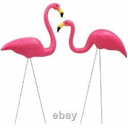 2pc Pelouse En Plastique Flamingo Garden Pond Ornament Rose Décoration Stand Patio