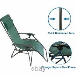2pcs Reclining Bain De Soleil Extérieur Jardin Patio Gravity Chaise Réglable Tête
