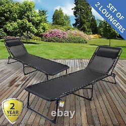 2x Marko Sun Lounger Go Flat Inclining Garden Outdoor Patio Réglable Noir Nouveau