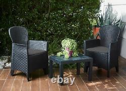 3 Pièces Bistro Set Patio Garden Meubles Table Extérieure 2 Fauteuils Rattan Style