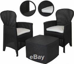 3 Pièces Extérieur Chaise Table D'intérieur Jardin Patio 2 Rotin Style Furniture Set