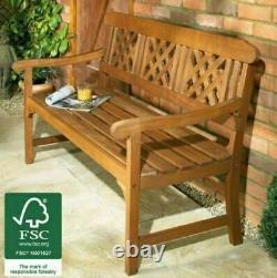 3 Seater Hardwood Bench Classic Wooden Garden Patio Meubles Extérieurs Intérieur Nouveau