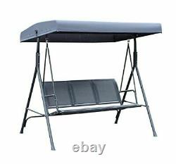 3 Seater Swing Chair Garden Hammock Canopy Patio Banque Extérieure Siège Olive Grey