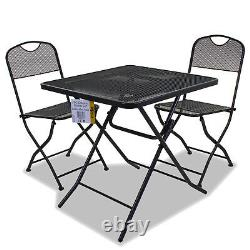 3pc Folding Bistro Set Outdoor Garden Patio Furniture Table & 2 Chaises Assises