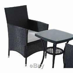 3pc Meubles En Rotin Ensemble Bistro Table De Jardin Meubles De Patio Extérieur En Osier Noir