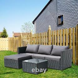 3pcs Extérieur Patio Sectionnel Meubles Pe Wicker Rattan Canapé Set Jardin Yard Uk