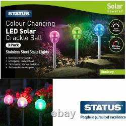 3pk Solar Led Garden Lights Post Patio Path Couleur De L'éclairage Extérieur Changeant