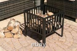 40cm Carré Fire Pit Bbq Grill Heater Outdoor Garden Firepit Brazier Patio Noir