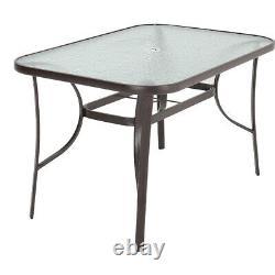 4/6seater Garden Glass Top Table Meubles D'extérieur Patio Café Bistro Table 120cm