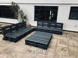 4 Grey Indoor/outdoor Rustic Patio Garden Pallet Chair Sofa 2 Tables