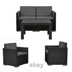 4 Pc Black Lounge Meubles De Jardin Patio Rattan Design Conversation Set Coussins