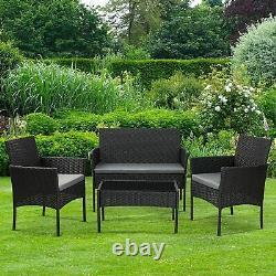 4 Pièces Effet Rattan Jardin Extérieur Ensemble De Meubles De Patio Canapé + Table + 2 Chaises