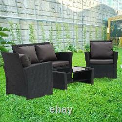 4 Pièces Rattan Garden Patio Meubles Extérieur Canapé, Chaise, Table De Café Royaume-uni