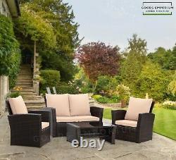 4 Seater Garden Canapé Meubles Set Extérieur Patio Conservatoire Fauteuils 4 Pièces