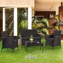 4pc Jardin Meubles En Rotin Noir Glass Set Patio Table Canapé Chaise Relax Extérieur