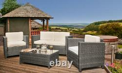 4pc Rattan Garden Patio Furniture Set Outdoor 2 Seater Sofa, Chairs & Table