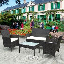 4pcs Patio Ratten Meubles De Jardin Ensemble Table Chaise Coussin Canapé D'extérieur À L'intérieur