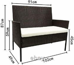 4pcs Patio Ratten Meubles De Jardin Set Table & Chaise Sofa Coussin Extérieur À L'intérieur