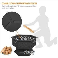 61cm Extérieur En Fer Fire Bowl Pit Garden/backyardbbq/camping Bonfire Patio Heater
