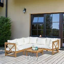 6 Pcs Cadre En Bois Extérieur Patio Garden Corner Sofa Set With Cushions Table Basse