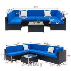 6 Seater Wicker Rattan Corner Sofa Set Table Outdoor Garden Furniture Patio Royaume-uni