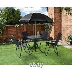6pc Garden Patio Furniture Set Outdoor Black 4 Seat Tables Rondes Chaises & Parasol