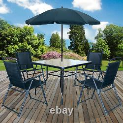 6pc Jardin Patio Meubles Ensemble Extérieur Noir 4 Places De Grande Table Carrée Parasol