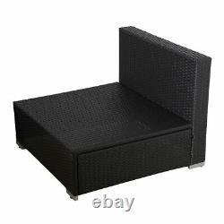 6pc Rattan Meubles De Jardin Extérieur Patio Corner Sofa Set Pe Wicker Deck Couch
