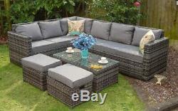 8 Seater Extérieur Jardin Patio Rotin Canapé D'angle Et Café Set De Table