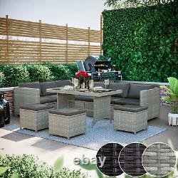 9 Seater Rattan Garden Meubles D'angle De 10pc Canapé Chaise De Table Extérieur Patio Ensemble