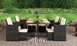 9pc Rattan Outdoor Garden Patio Furniture Set 4 Chaises 4 Tabourets & Table À Manger