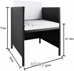 9pcs Patio Ratten Garden Furniture Set Table & Chaise Sofa Coussin Extérieur À L'intérieur