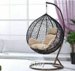 Accrocher Rattan Swing Patio Garden Chair Tisser Oeuf Avec Coussin Dans L'intérieur Extérieur