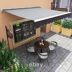 Auvent Manuel Canopy Extérieur Patio Garden Sun Shade Retractable Ajustable Shelter