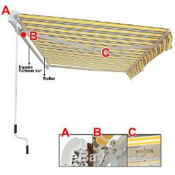 Auvent Rétractable Manuel Jardin Extérieur Patio Canopy Pare-soleil Abri 8 Couleur