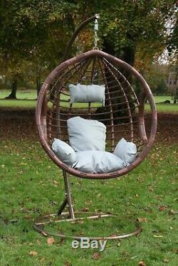 Balançoire Suspendue Egg Chair Avec Coussin Patio Jardin Extérieur Pe Meubles En Rotin
