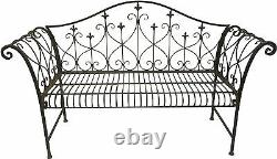Banc En Métal Rustique De Jardin 2/3 Seater High Backrest Vintage Look Outdoor Bench