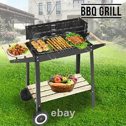 Bbq Rectangulaire Barbecue Steel Charcoal Grill Extérieur Patio Jardin Roues