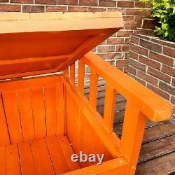 Birchtree Banc De Jardin En Bois 2 Seater Boîte De Stockage Avec Pont Extérieur De Patio