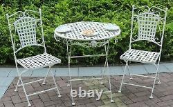 Bistro Set De Jardin En Métal Meubles De Patio Chaises De Table Pliables À L'extérieur 3 Pièce