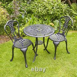 Black Bistro Set De Meubles De Jardin De Patio D'extérieur Et 2 Chaises Cadre En Métal