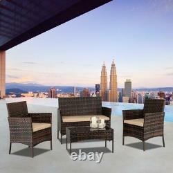 Brown Rattan Outdoor Garden Furniture Set 4 Piece Chairs Sofa Table Patio Set Royaume-uni