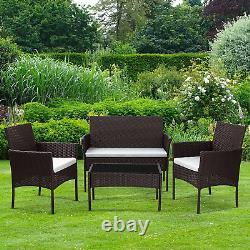 Brun Garden Rattan Set Extérieur Patio Meubles Banc Canapé + 2 Chaises + Table