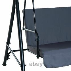 Chaise De Balançoire En Métal De Jardin 3 Seater Hamock Patio Canapy Banc Lounge