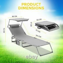Chaise De Jardin Pliable Sun Louncer Réglable À L'arrière Chaise Sunshade Patio Textilene