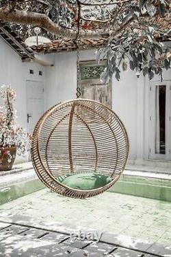 Chaise Suspendue En Rotin Naturel Autoportant Balance D'oeuf Extérieur Jardin Intérieur De Patio