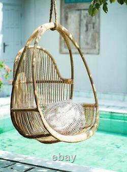 Chaise Suspendue Naturelle De Rotin Henry Beige Egg Swing Jardin Intérieur Extérieur De Patio
