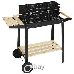 Charcoal Grill Bbq Rectangulaire Barbecue Steel Extérieur Patio Jardin Roues