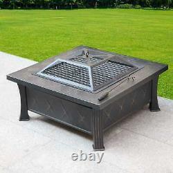 Chauffage Extérieur Multifonctionnel Fire Pit Garden Bbq Brazier Square Patio Heater
