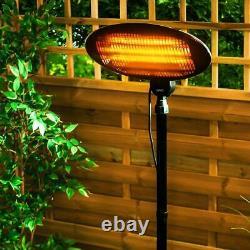 Chauffage Patio Jardin Extérieur Quartz Permanent Libre Électrique 2000w Imperméable À L'eau 2kw
